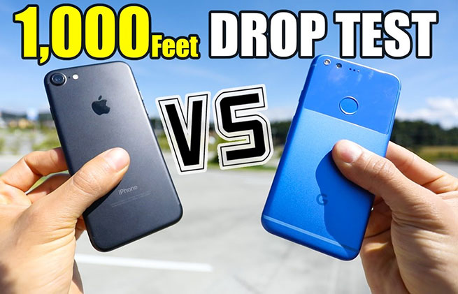 รอดไหม ? Drop Test Google Pixel ปะทะ iPhone 7 ที่ความสูง 1,000 ฟุต